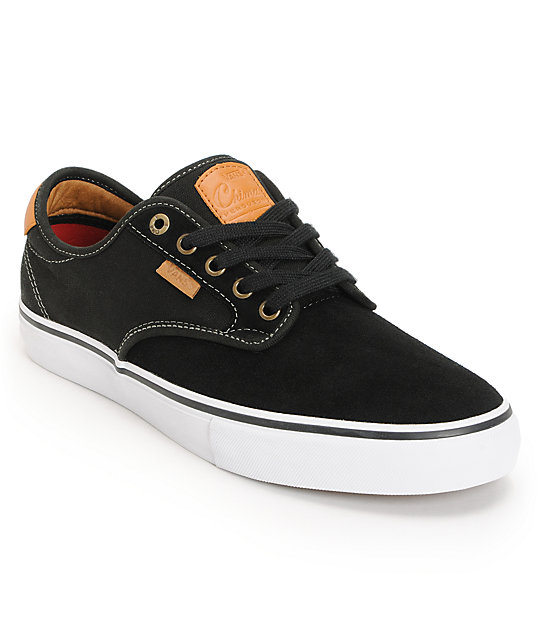 Vans Chima Pro Black, White, & Tan Skate Shoes (Mens)