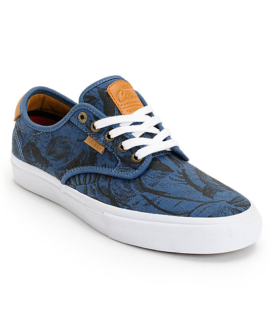 Vans Chima Pro Blue, Tan, & Hawaiian Print Skate Shoes (Mens)