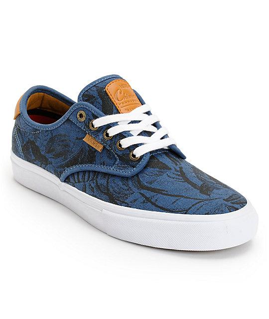 Vans Chima Pro Blue, Tan, & Hawaiian Print Skate Shoes (Mens)