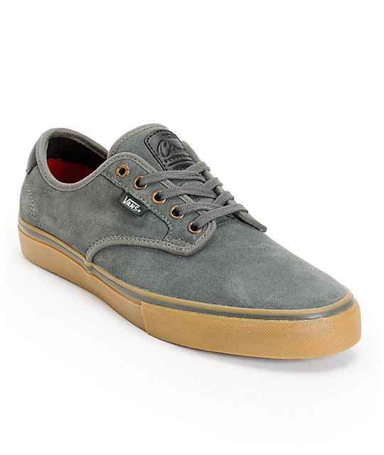 Vans Chima Pro Charcoal & Gum Suede Skate Shoes (Mens)
