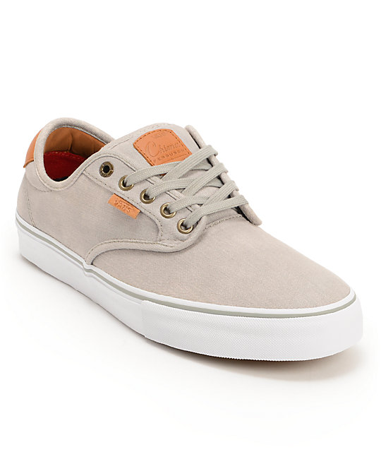 Vans Chima Pro Grey Wash, White, & Tan Skate Shoes (Mens)
