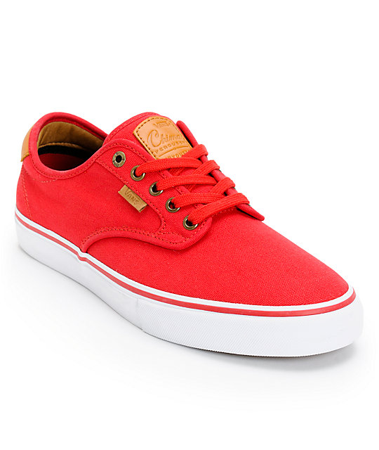 Vans Chima Pro Red, White, & Tan Skate Shoes