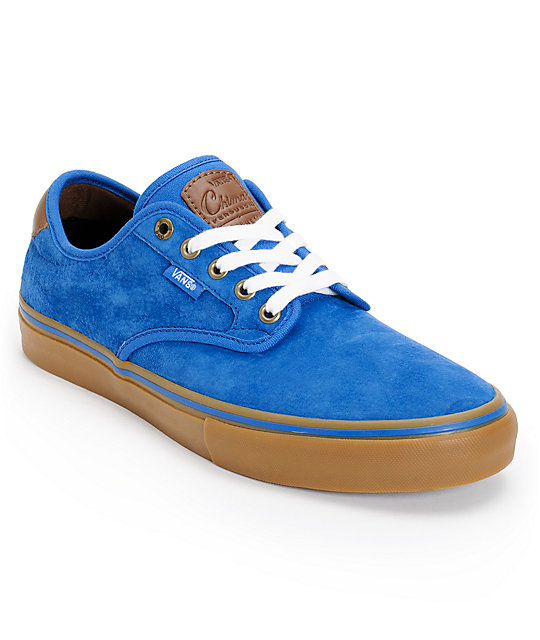 Vans Chima Pro Royal Blue & Gum Suede Skate Shoes (Mens)