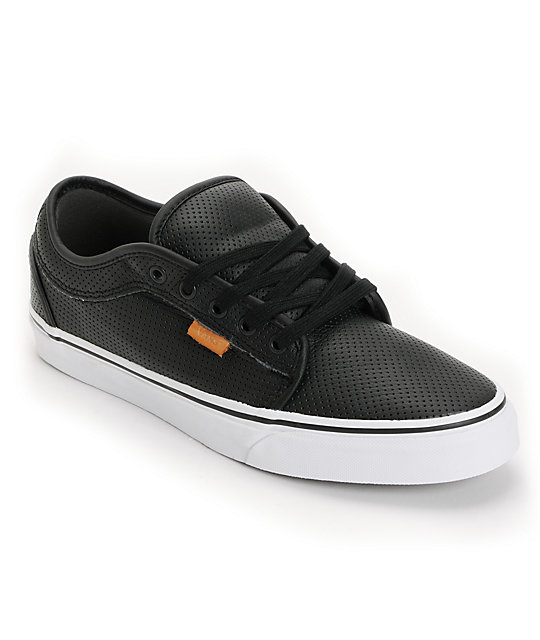 Vans Chukka Black Peforated Leather Skate Shoes (Mens)