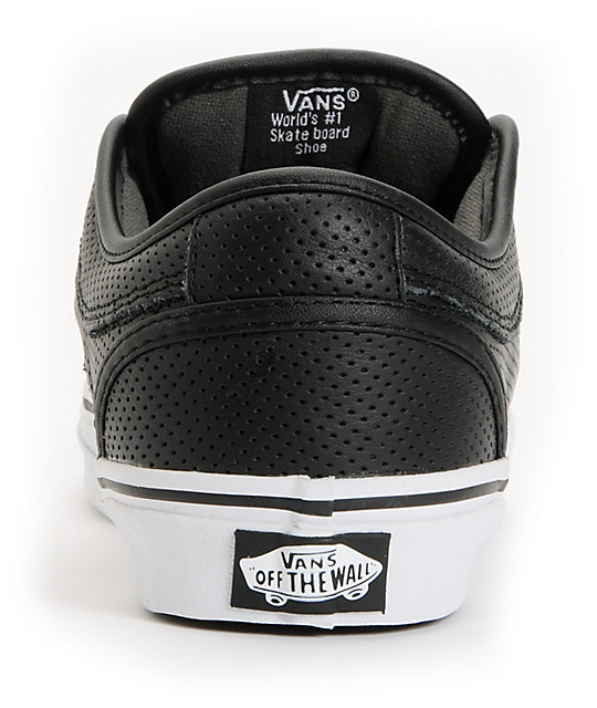Vans Chukka Black Peforated Leather Skate Shoes