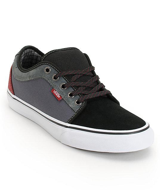 Vans Chukka Low Black, Dark Grey, & Burgundy Skate Shoes