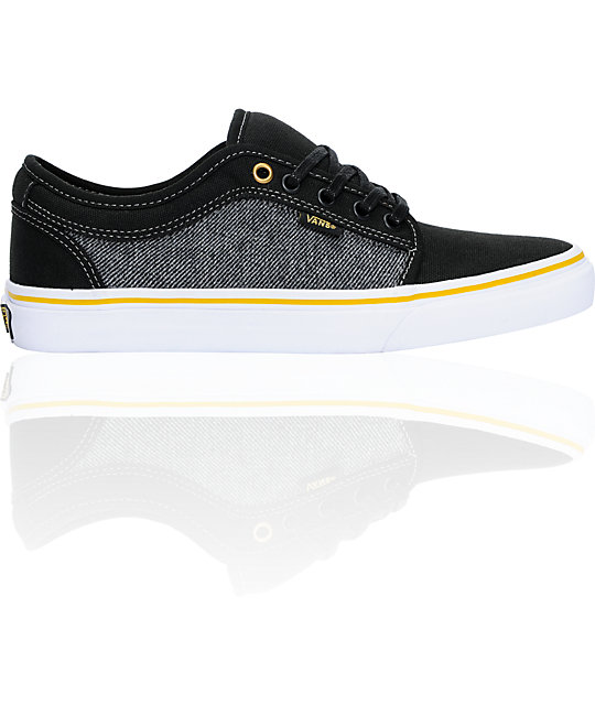 Vans Chukka Low Black, Grey, & Gold Skate Shoes (Mens)