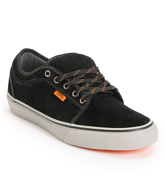 Vans Chukka Low Black, Grey, and Orange Skate Shoes (Mens)