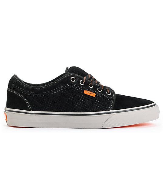 Vans Chukka Low Black, Grey, and Orange Skate Shoes