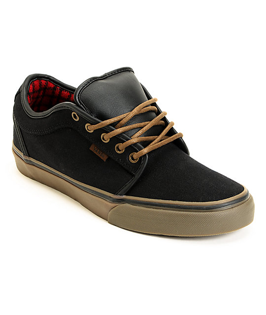 vans chukka low black gum flannel canvas skate shoes