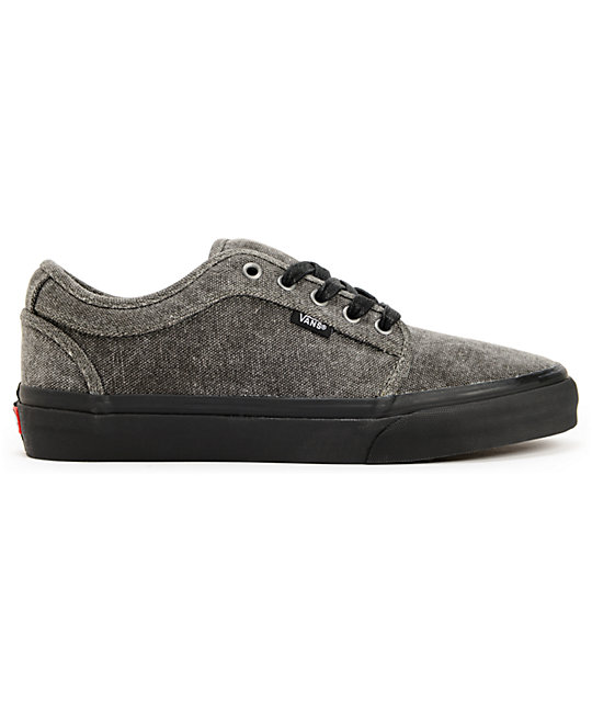 Vans Chukka Low Black & Black Washed Canvas Skate Shoes