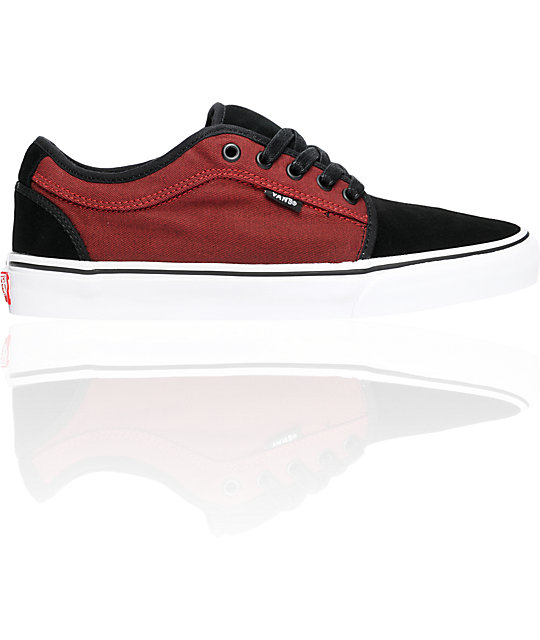 Vans Chukka Low Black & Deep Red Canvas Skate Shoes (Mens)