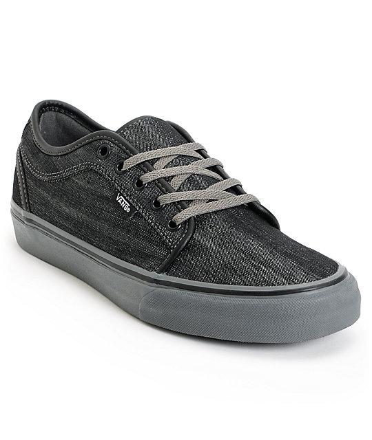 vans chukka low black canvas pewter skate shoes at