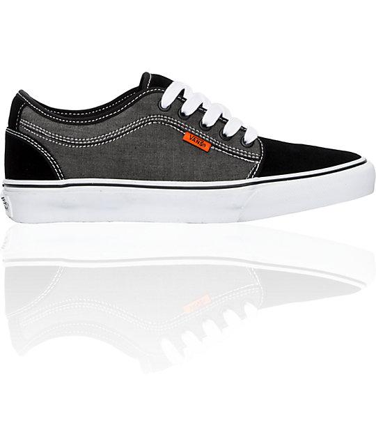 Vans Chukka Low Black Chambray, White & Orange Skate Shoes