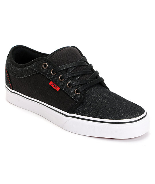 Vans Chukka Low Black Denim & Red Skate Shoes (Mens)