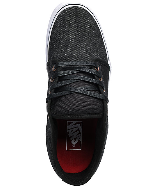 Vans Chukka Low Black Denim & Red Skate Shoes