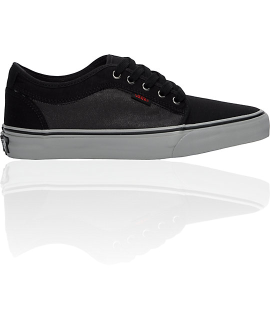 Vans Chukka Low Black Wax, Grey & Red Skate Shoes (Mens)