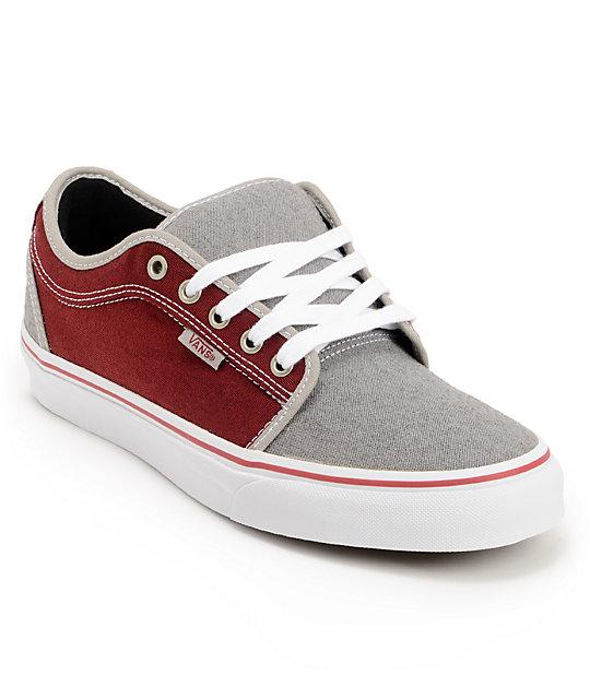 Vans Chukka Low Grey & Burgundy Canvas Skate Shoes (Mens)