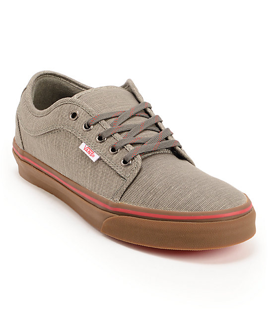 Vans Chukka Low Linen Grey & Gum Skate Shoes (Mens)