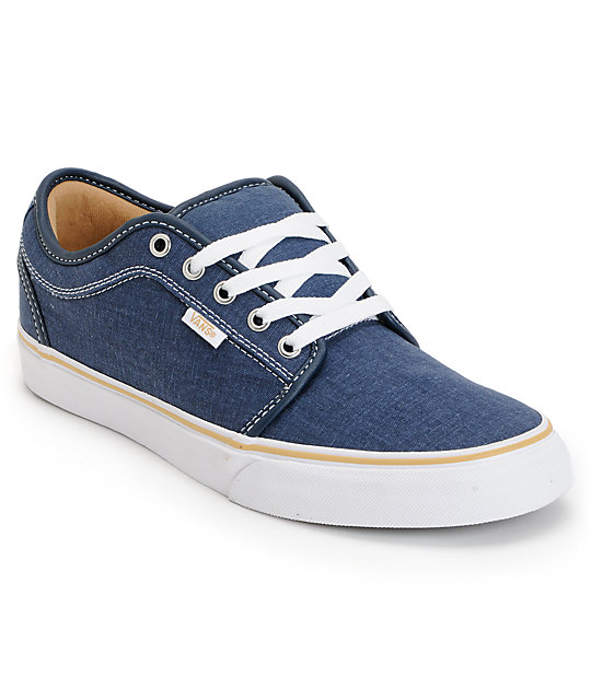 Vans Chukka Low Navy Washed Canvas Skate Shoes (Mens)