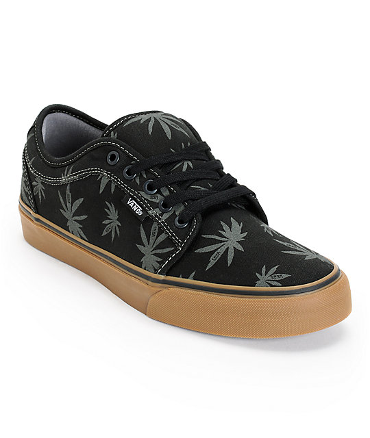 vans chukka low palms black charcoal gum skate shoes