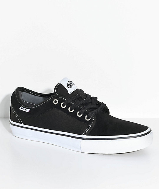 vans chukka low pro black white suede canvas skate