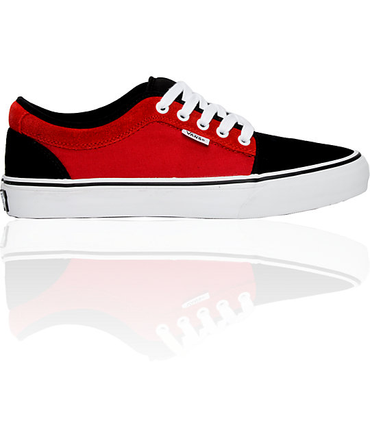 Vans Chukka Low Red, Black & White Shoes (Womens)