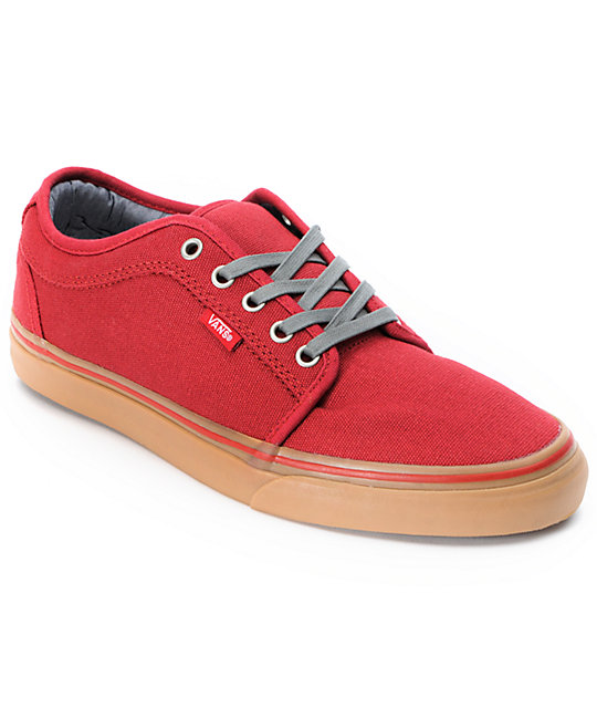 vans chukka low scarlet canvas gum skate shoes mens at
