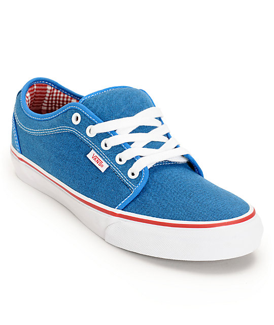 Vans Chukka Low Sky Blue & Red Canvas Skate Shoes
