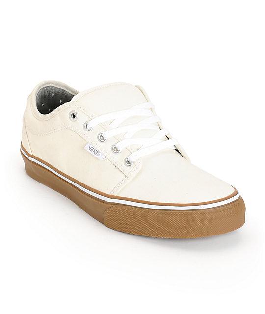 Vans Chukka Low White & Gum Skate Shoes (Mens)