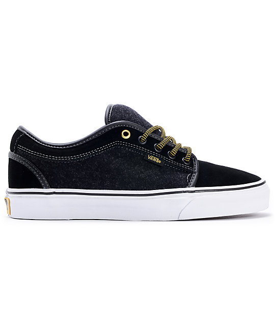 Vans Chukka Low Wool Black & Gold Skate Shoes