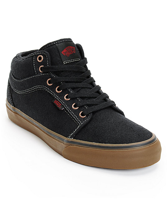 Vans Chukka Mid Black & Gum Canvas Skate Shoes (Mens)