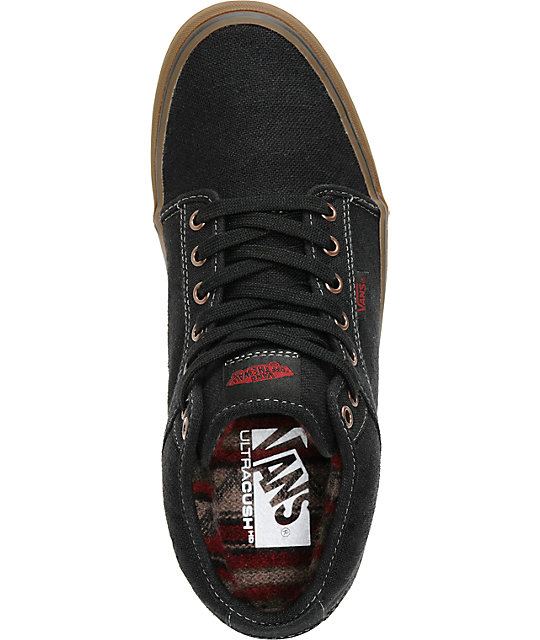 Vans Chukka Mid Black & Gum Canvas Skate Shoes