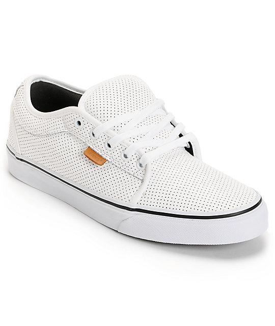 Vans Chukka White Peforated Leather Skate Shoes