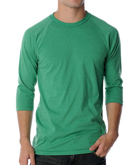 Vans Classic Basic Heather Kelly Green Baseball T-Shirt