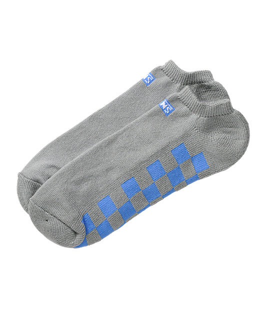 Vans Classic Checkerboard Grey & Blue Ankle Socks