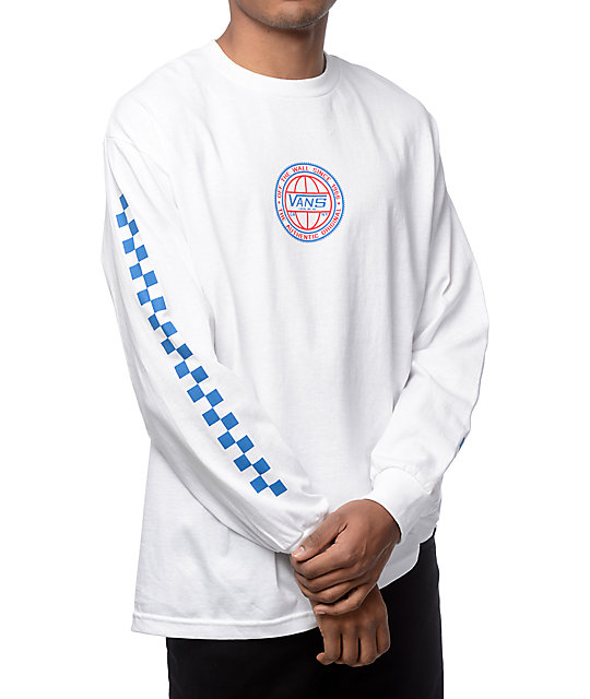 Vans classic era white red blue long sleeve t shirt for What is a long sleeve t shirt