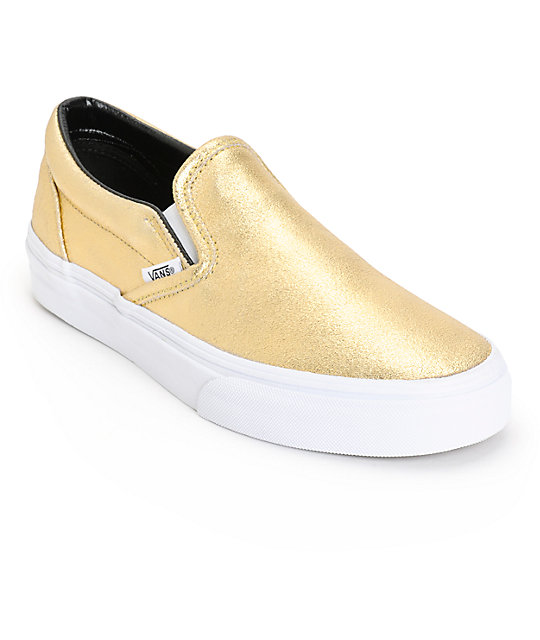 Vans Classic Gold Metallic Slip-On Shoes (Womens)