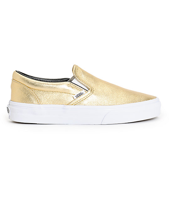 vans classic gold metallic slip on shoes
