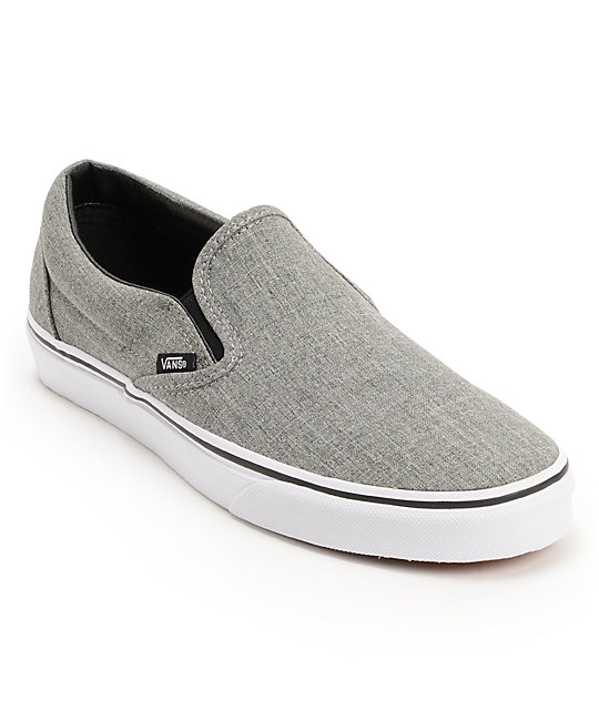 Vans Classic Grey & White Slip On Skate Shoes (Mens)