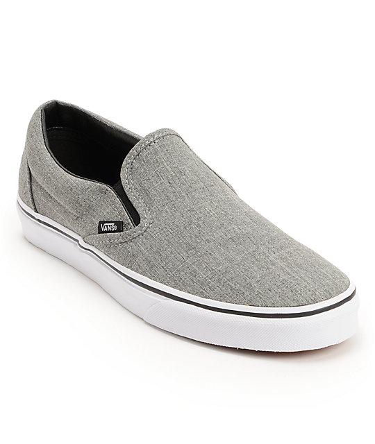 vans classic grey white slip on skate shoes