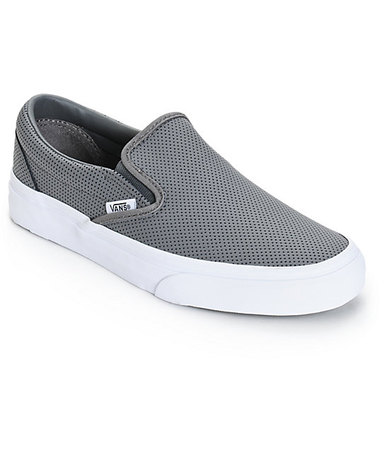 Vans Classic Grey Perforated Leather Slip-On Shoes at Zumiez : PDP