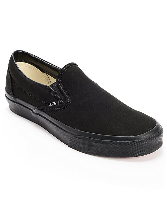 Vans Classic Mono Black Slip On Skate Shoes