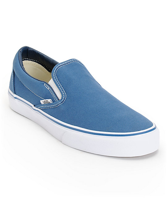 Vans Classic Navy Slip On Skate Shoes (Mens)
