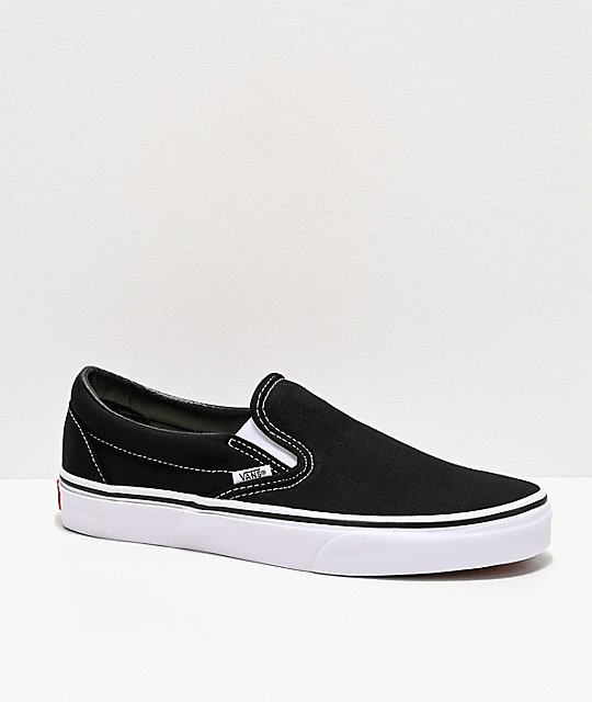 Vans Classic Slip On Black & White Shoes by Vans