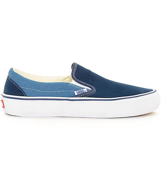 vans 2 tone slip on. vans classic slip-on pro navy \u0026 blue 2 tone skate shoes slip on t