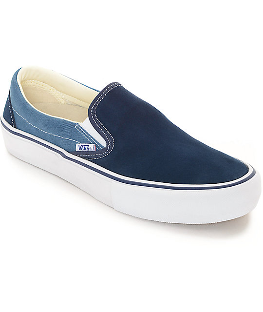 vans classic slip on pro navy blue 2 tone skate shoes. Black Bedroom Furniture Sets. Home Design Ideas