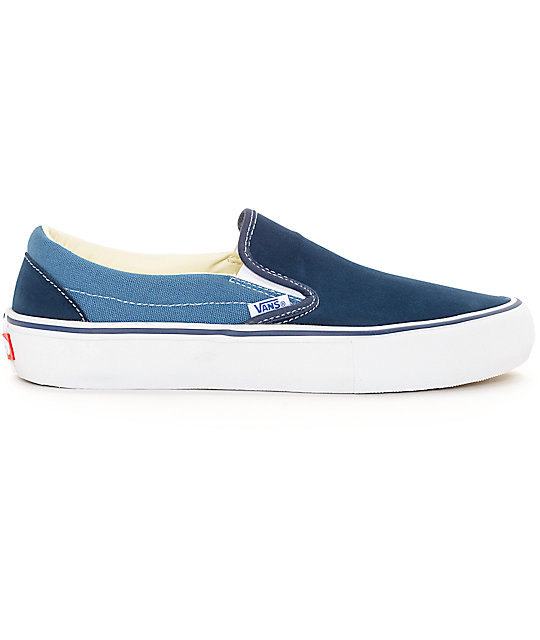 vans classic slip on pro navy blue 2 tone skate shoes