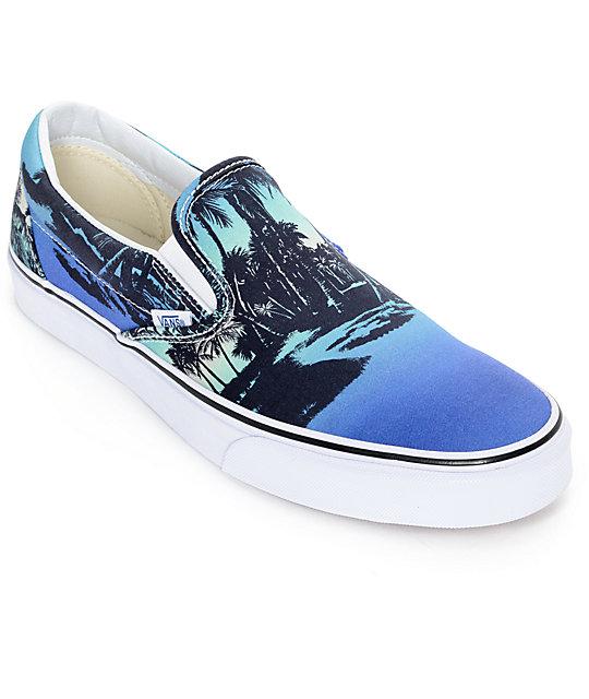 vans classic doren hoffman blue slip on shoes mens