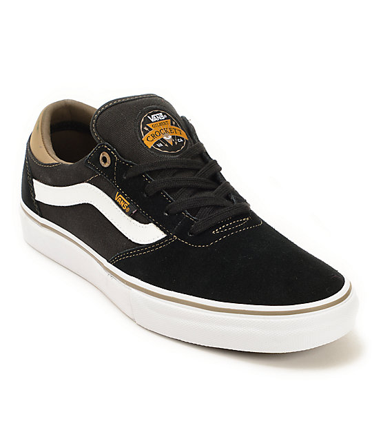 Vans Crockett Pro Black Suede Skate Shoes